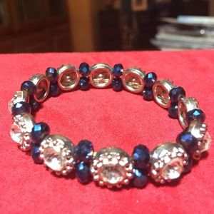 Blue Beaded CZ Silvertone Bracelet
